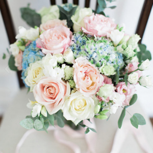 Bride bouquet in soft pastels